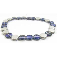 25 Czech Glass Montana Blue/ Silver Disc Beads