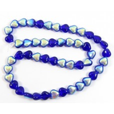 50 Czech Glass 6mm Heart Beads - Dark Blue AB