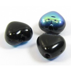 50 Czech Glass 6mm Heart Beads - Jet Black AB