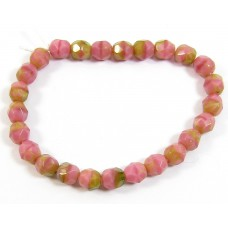 50 Czech Glass Firepolish Crystal 6mm Peach-Pink-Green Beads