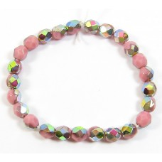 50 Czech Glass Firepolish Crystal 6mm Opaque Pink Vitrail