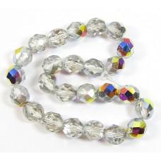 25 Czech Glass Firepolish Crystal 8mm Crystal Vitrail