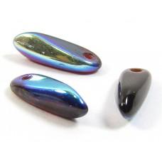 100 Czech Glass Garnet Red AB Dagger Beads