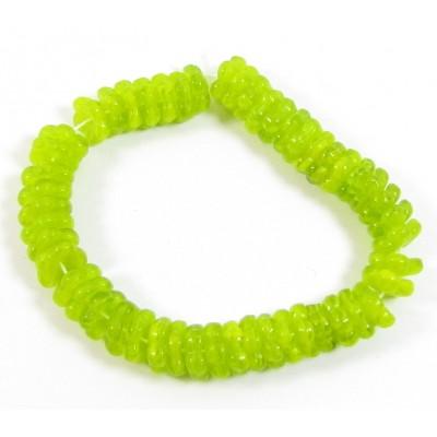 50 Czech Glass Lime Flat Flower Beads