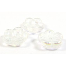 50 Czech Glass Crystal/ AB Flat Flower Beads