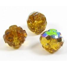 25 Topaz / Vitrail Faceted Firepolish Czech Glass Beads