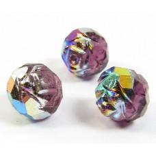 25 Amethyst / Vitrail Firepolish Faceted Czech Glass Beads