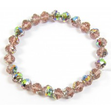25 Peach/ Vitrail Firepolish Faceted Czech Glass Beads