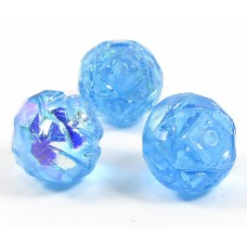 25 Bright Blue / Vitrail Firepolish Faceted Czech Glass Beads