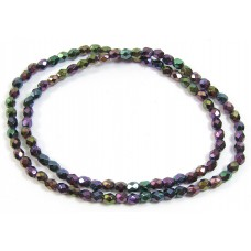 100 Firepolish Beads 4mm Purple Rainbow Iris.
