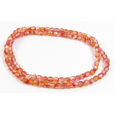 100 Firepolish Beads 4mm Orange tranparent