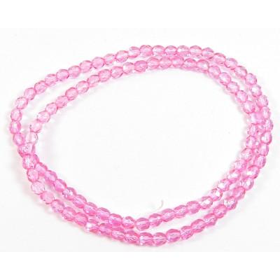 100 Firepolish Beads 4mm Coral Rose transparent