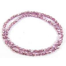 100 Firepolish Beads 4mm Metallic Rose Pink.