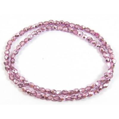 100 Firepolish Beads 4mm Metallic Rose Pink.
