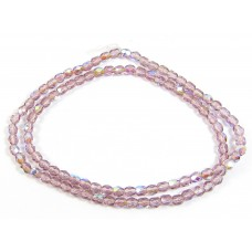 100 Firepolish Beads 4mm Light Amethyst transparent / AB.