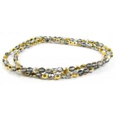 100 Firepolish Beads 4mm Metallic Pewter/ Silver (Aurum).