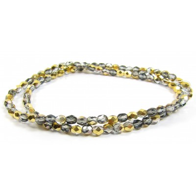 100 Firepolish Beads 4mm Metallic Pewter/ Silver (Aurum).