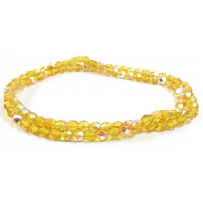 100 Firepolish Beads 4mm Light Topaz Transparent/ AB.