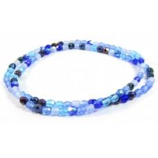 Firepolish Glass Beads 4mm Blue Mix
