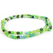 Firepolish Glass Beads 4mm Green Mix