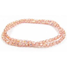 Firepolish Glass Beads 4mm Peach Rose