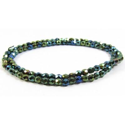 1 Strand Firepolish Glass Beads 4mm Green Iris