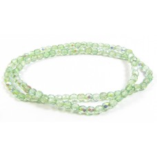 100 Firepolish Glass Beads 4mm Spring Green