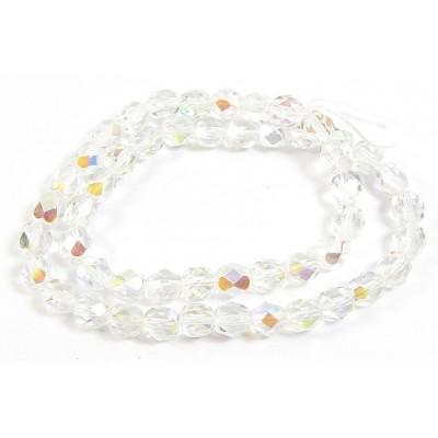 Strand Firepolish Beads 6mm Clear Aurora Borealis