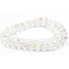 Strand Firepolish Beads 8mm Clear Aurora Borealis