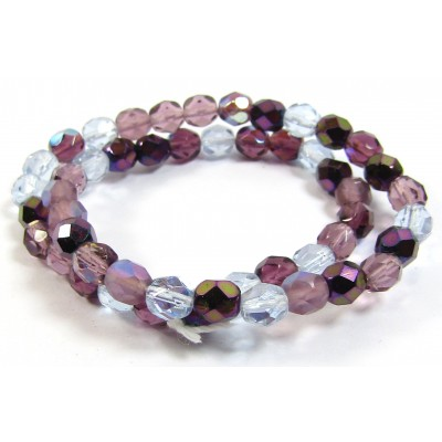 Strand Firepolish Glass Beads 6mm Amethyst/ Purple Mix