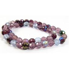 Strand Firepolish Glass Beads 8mm Amethyst/ Purple Mix