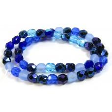 Strand Firepolish Glass Beads 6mm Blue Mix