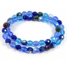 Strand Firepolish Glass Beads 8mm Blue Mix
