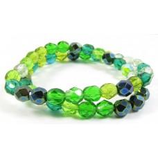 Strand Firepolish Glass Beads 6mm Green Mix