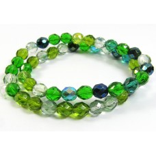 Strand Firepolish Glass Beads 8mm Green Mix