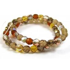 Strand Firepolish Glass Beads 6mm Caramel Mix