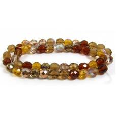Strand Firepolish Glass Beads 8mm Caramel Mix