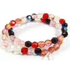 Strand Firepolish Glass Beads 6mm Berry Mix