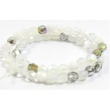 Strand Firepolish Glass Beads 6mm Snow Mix