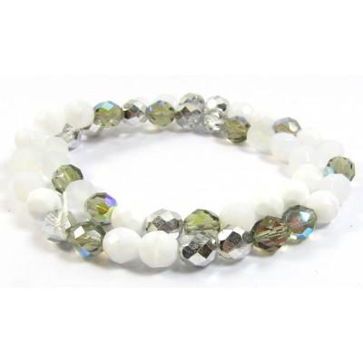 Strand Firepolish Glass Beads 8mm Snow Mix