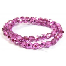 1 Strand Firepolish Beads 6mm Metallic Rose Pink.