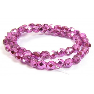 1 Strand Firepolish Beads 6mm Metallic Rose Pink.