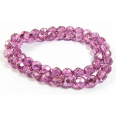 1 Strand Firepolish Beads 8mm Metallic Rose Pink.