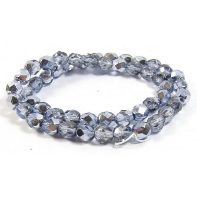 1 Strand Firepolish Beads 6mm Metallic Lavender.
