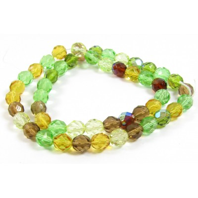 1 Strand Firepolish 8mm Faceted Planet Earth Colour Mix Beads