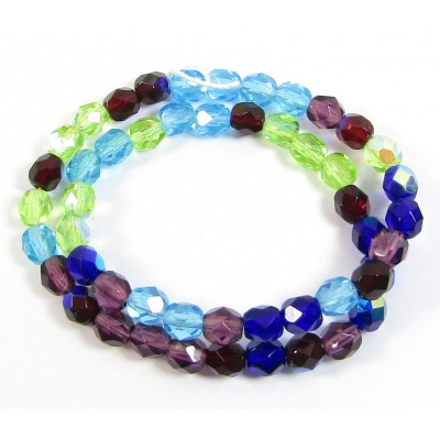 1 Strand Firepolish 6mm Faceted Taffeta Colour Mix Beads