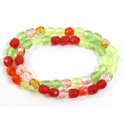 1 Strand Firepolish 6mm Faceted Citrus Colour Mix Beads