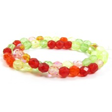 1 Strand Firepolish 4mm Faceted Citrus Colour Mix Beads