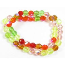 1 Strand Firepolish 8mm Faceted Citrus Colour Mix Beads