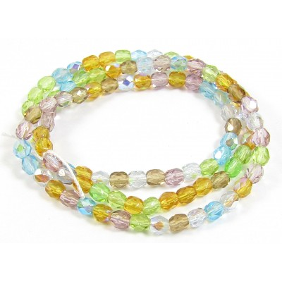 1 Strand Firepolish 4mm Faceted Sun and Sky Colour Mix Beads